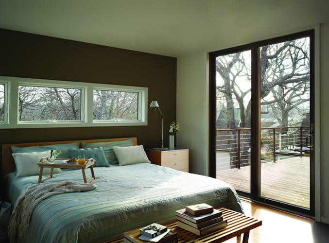 Bedroom 400 Series Awning Windows and 200 Series Perma-Sheild® gliding patio door